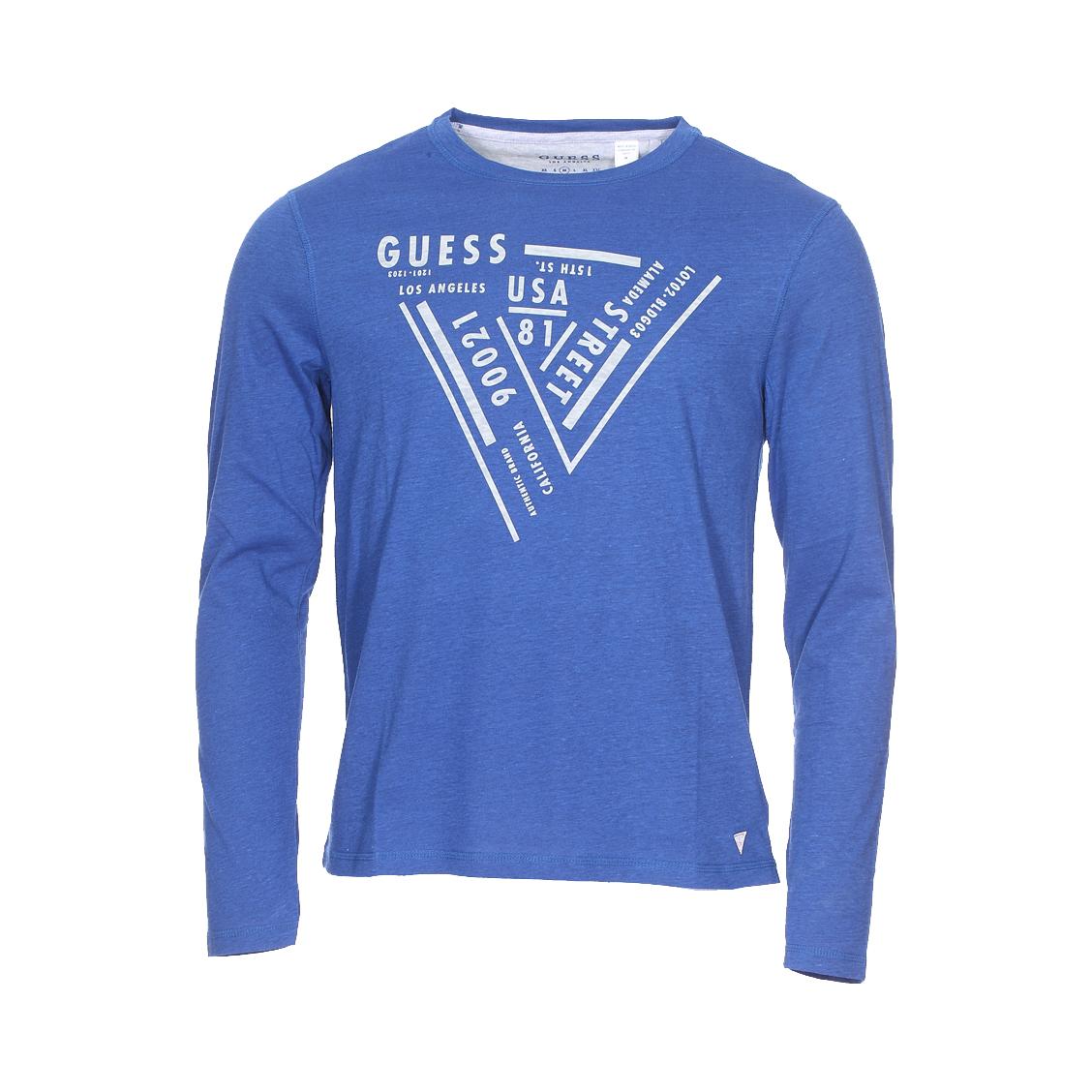 Tee-shirt col rond manches longues guess en coton mélangé bleu indigo chiné floqué