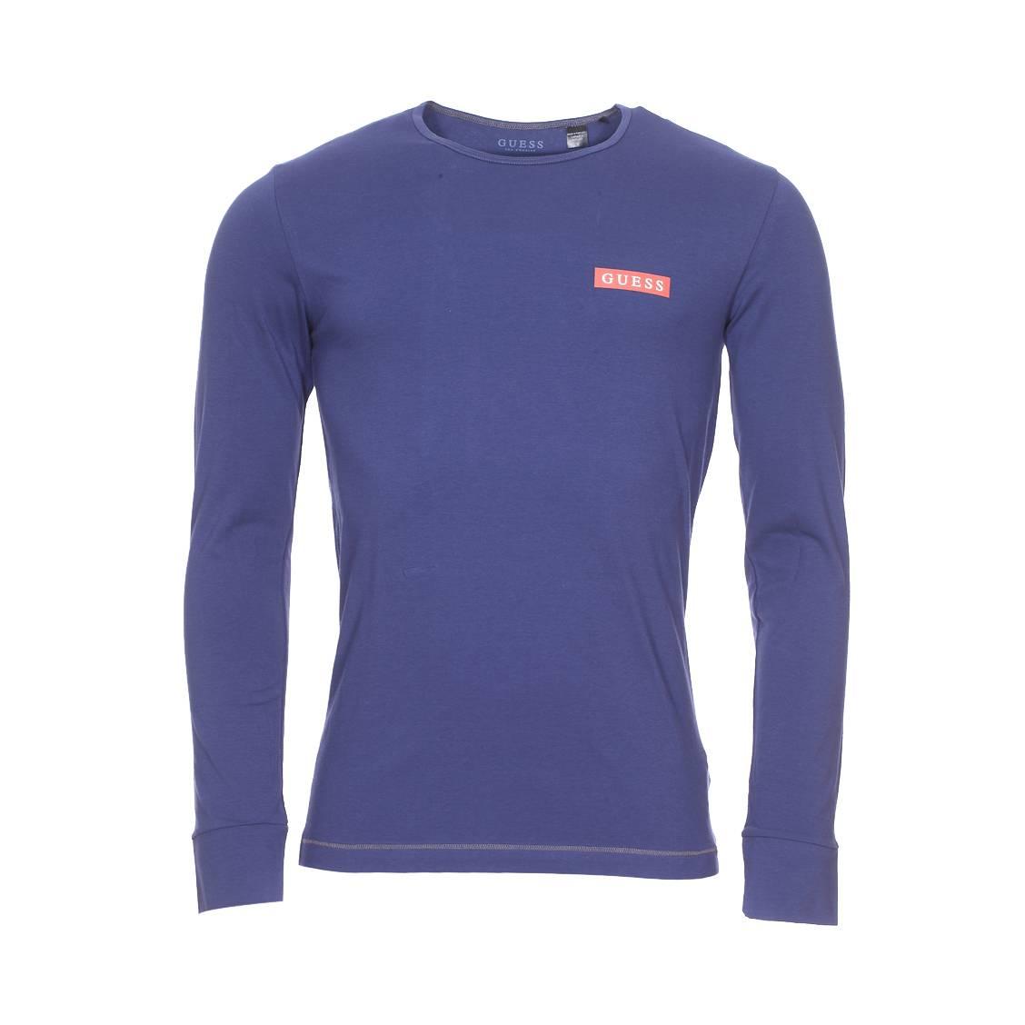 Tee-shirt col rond manches longues guess en coton stretch bleu indigo floqué