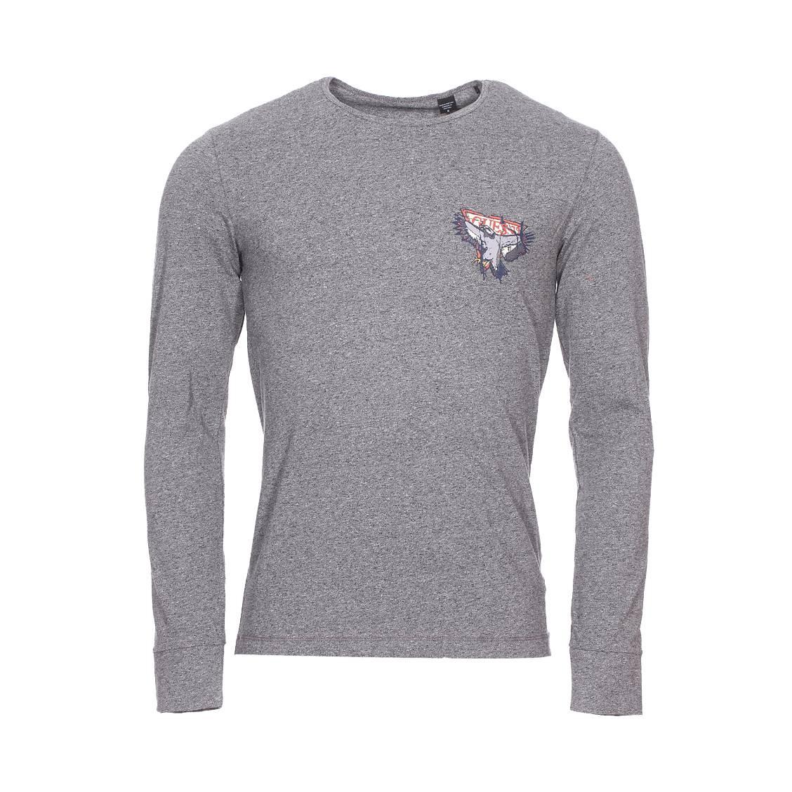 Tee-shirt col rond manches longues guess en coton stretch gris foncé chiné floqué