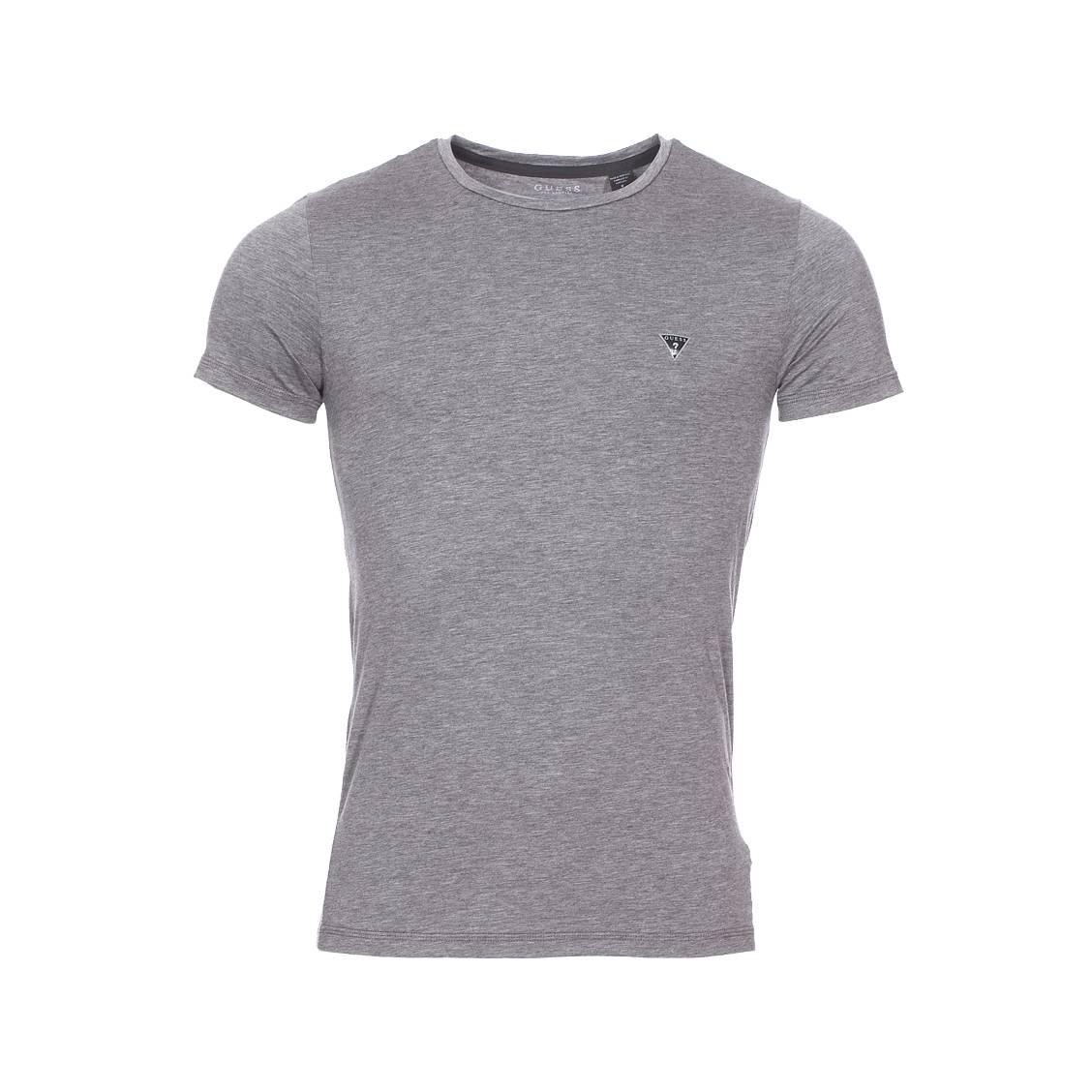 Tee-shirt col rond guess en lyocell stretch gris foncé chiné
