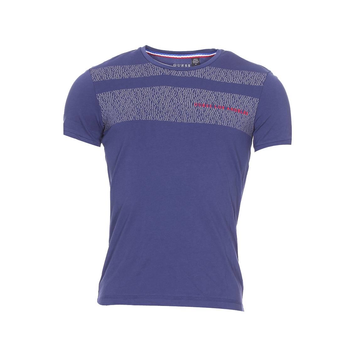 Tee-shirt col rond guess en coton stretch bleu indigo floqué