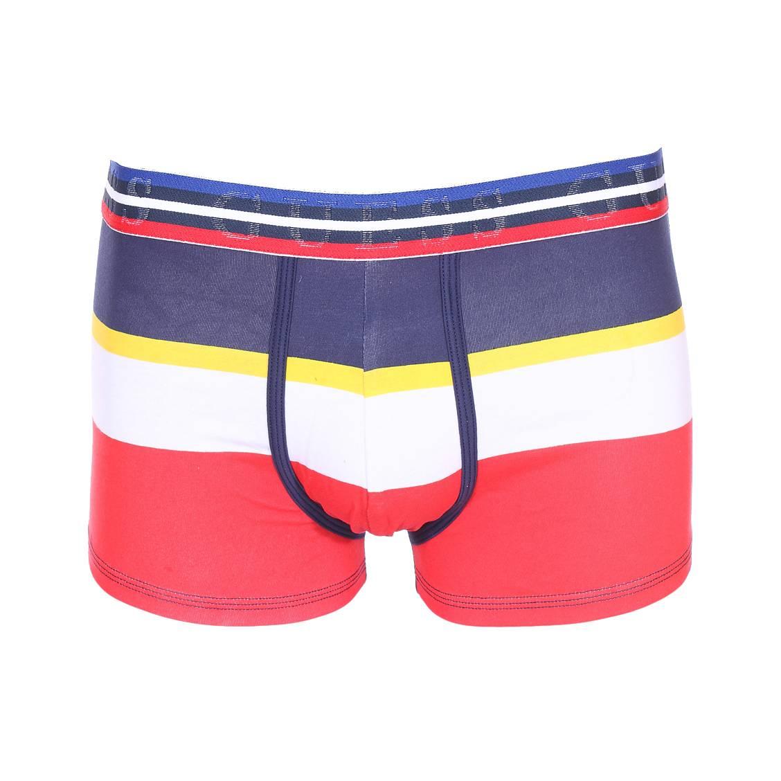 Boxer guess en coton stretch à rayures rouge, blanche, jaune et bleu marine