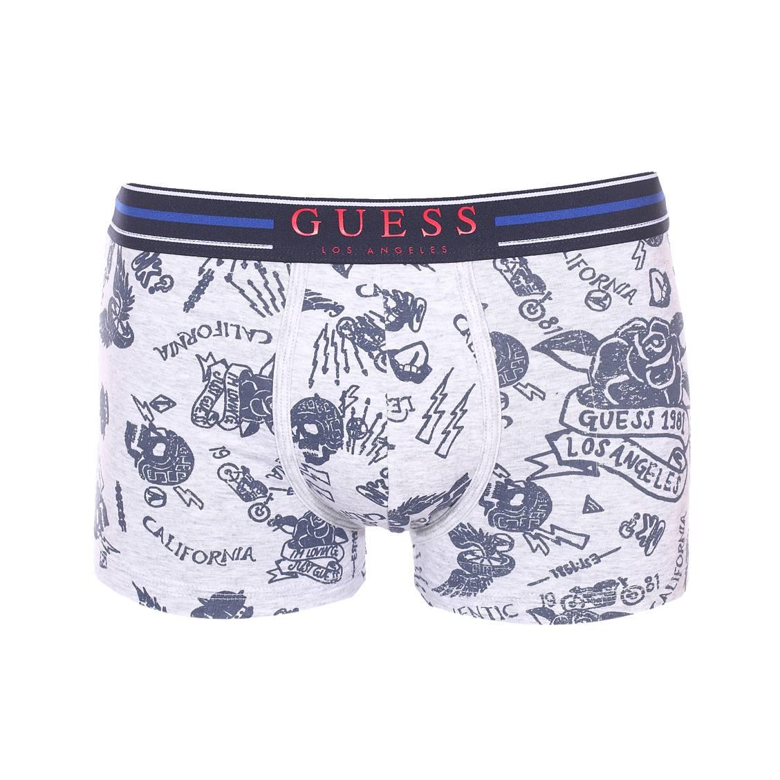Boxer guess en coton stretch gris chiné à imprimé fantaisie bleu marine