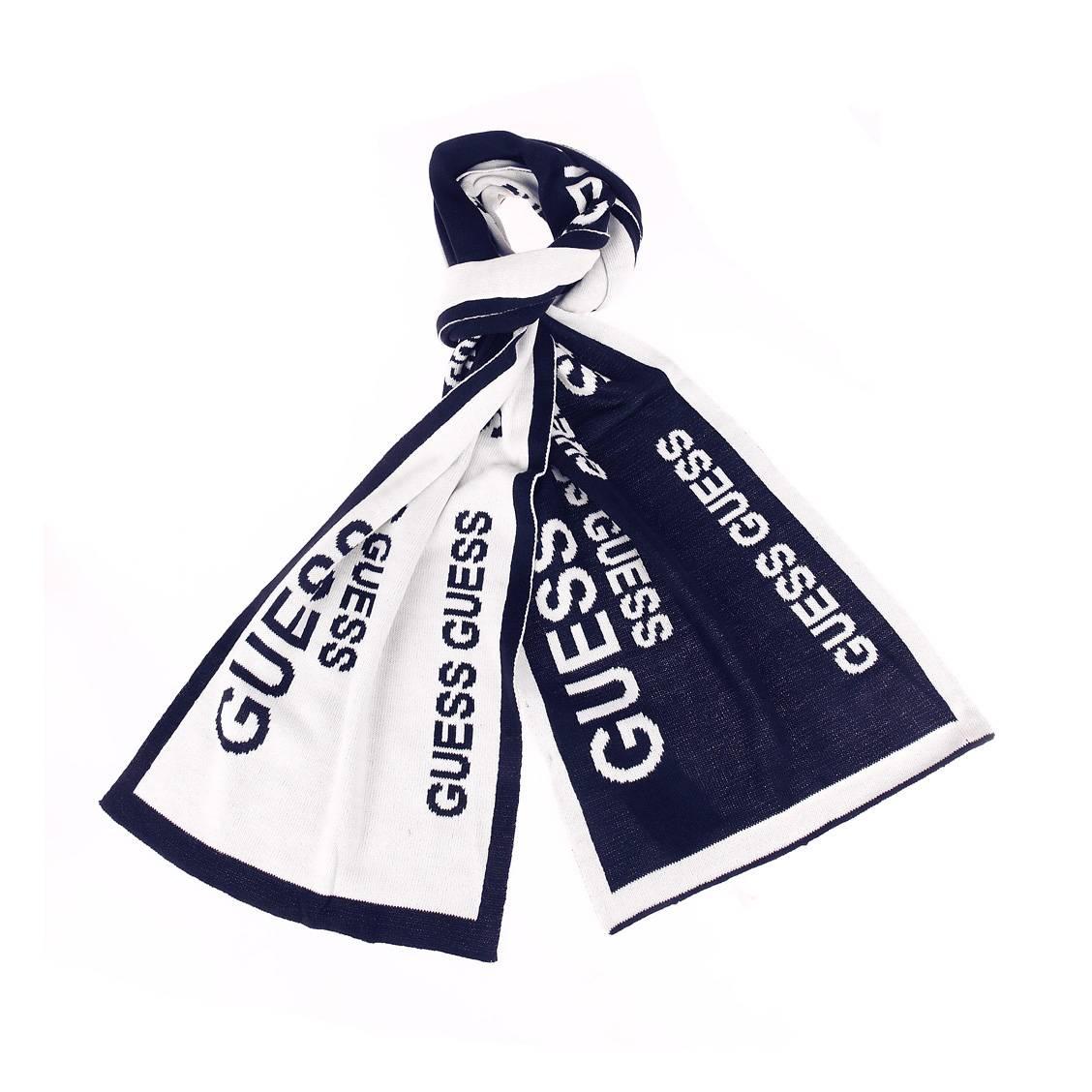 Echarpe  bleu marine à bords blancs et monogrammée en blanc réversible