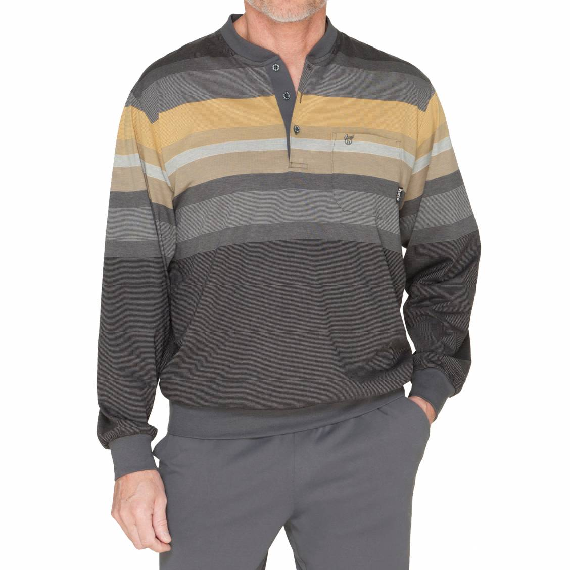 Pyjama long Hajo Confort Climat   tee-shirt manches longues col tunisien à  rayures grises ... 594b5e8226f6