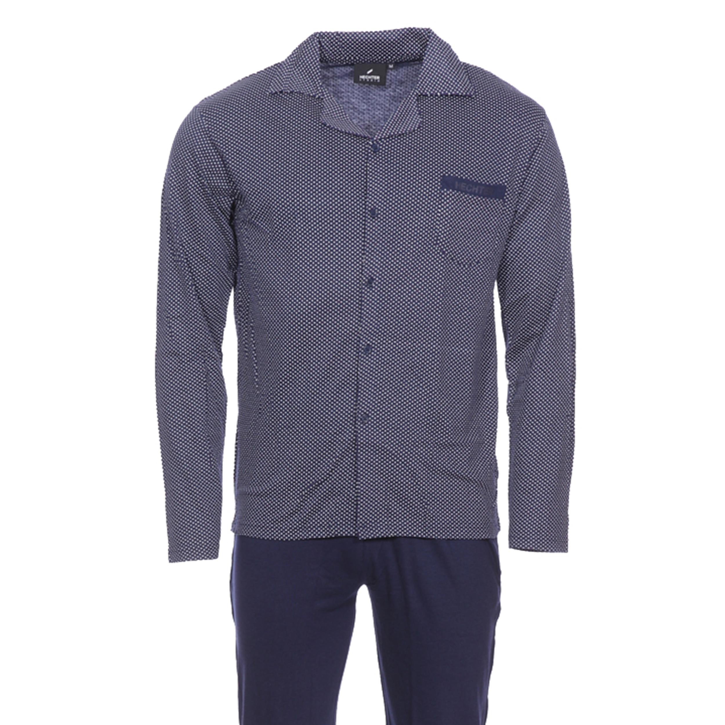 Pyjama long Hechter Studio Flow en coton et modal : veste bleu marine à motifs et pantalon bleu marine