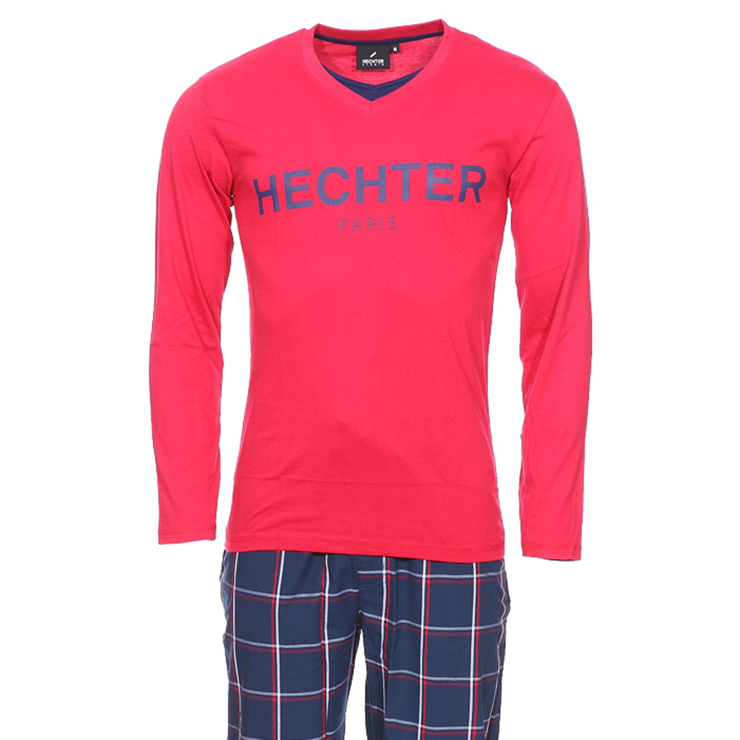 Pyjama long Hechter Studio Party en coton : tee-shirt manches longues à double col V en jersey rouge et pantalon en popeline bleu marine à carreaux
