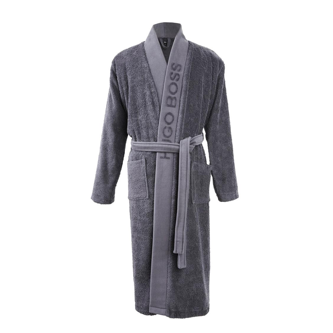 Kimono  plain en coton éponge gris anthracite