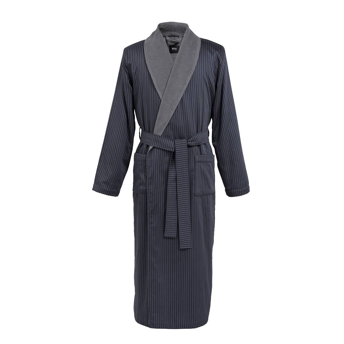 Kimono  filigree en satin de coton gris à rayures