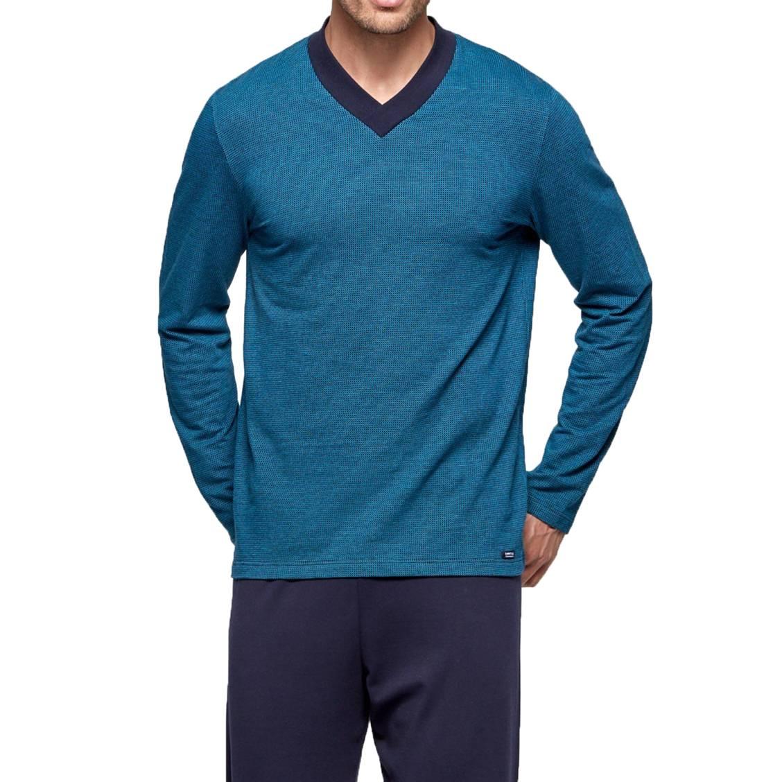 2622259d23246 Pyjama_long_Impetus_en_coton_tee-shirt_manches_longues_col_V_bleu_marine_a_carreaux_bleu_cyan_et_pantalon_bleu_marine-1-0_1128x1128.jpg