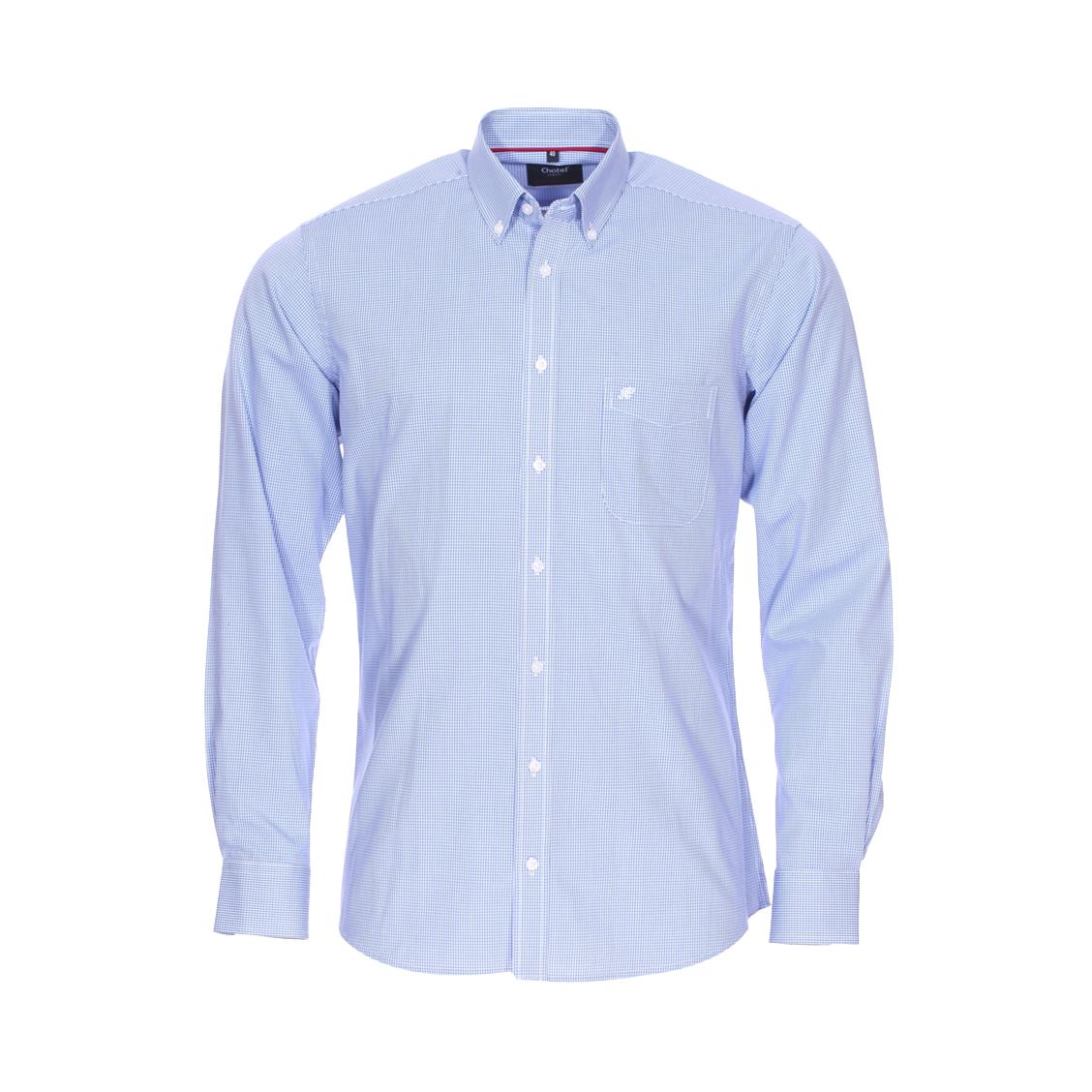 Chemise ajustée jean chatel nobless bristol en coton vichy bleu et blanc, sans repassage