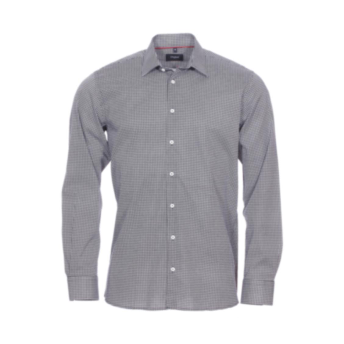 Chemise droite Jean Chatel London en coton stretch à motif floral noir et blanc