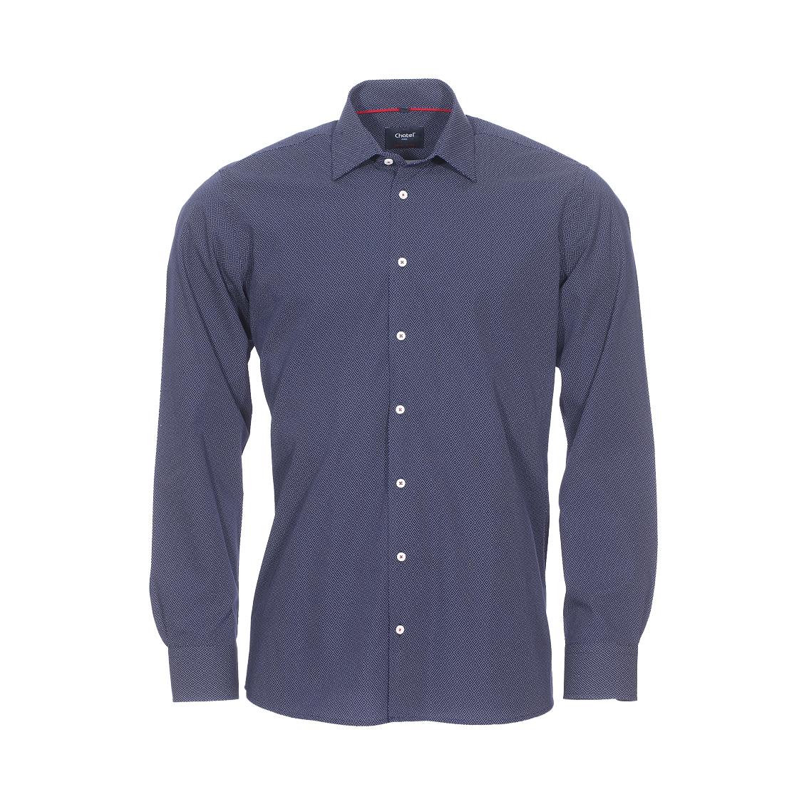 Chemise droite Jean Chatel London Ville en coton bleu marine à motif fantaisie blanc