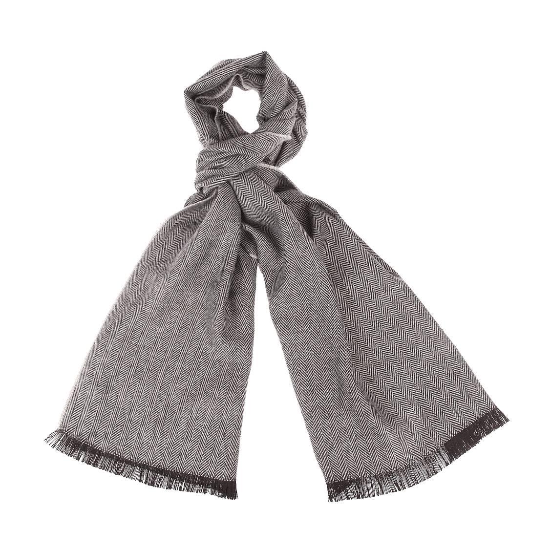 Echarpe jean chatel en laine mélangée à chevrons gris clair et gris anthracite