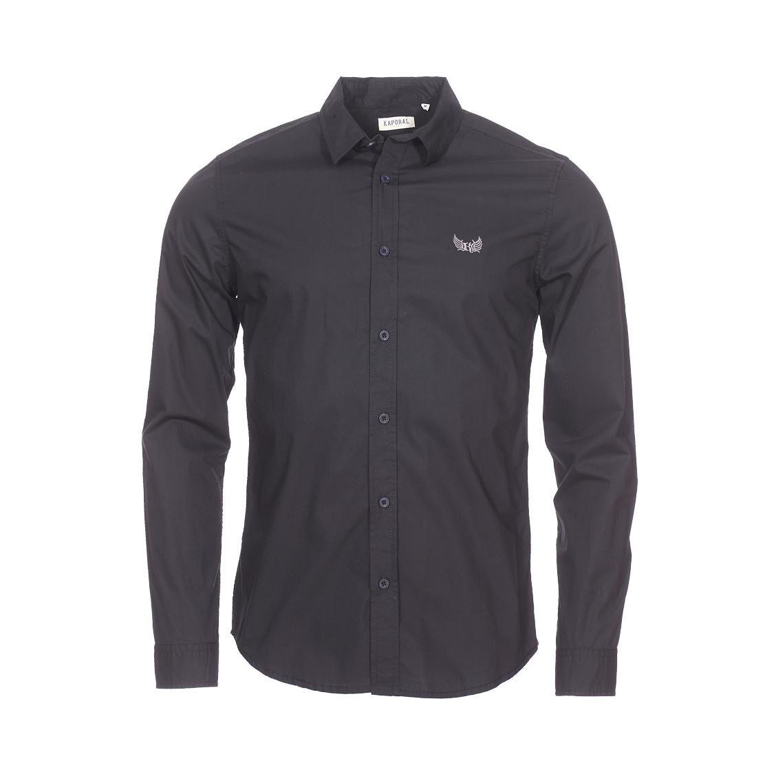 Chemise droite  fita en coton noir floqué
