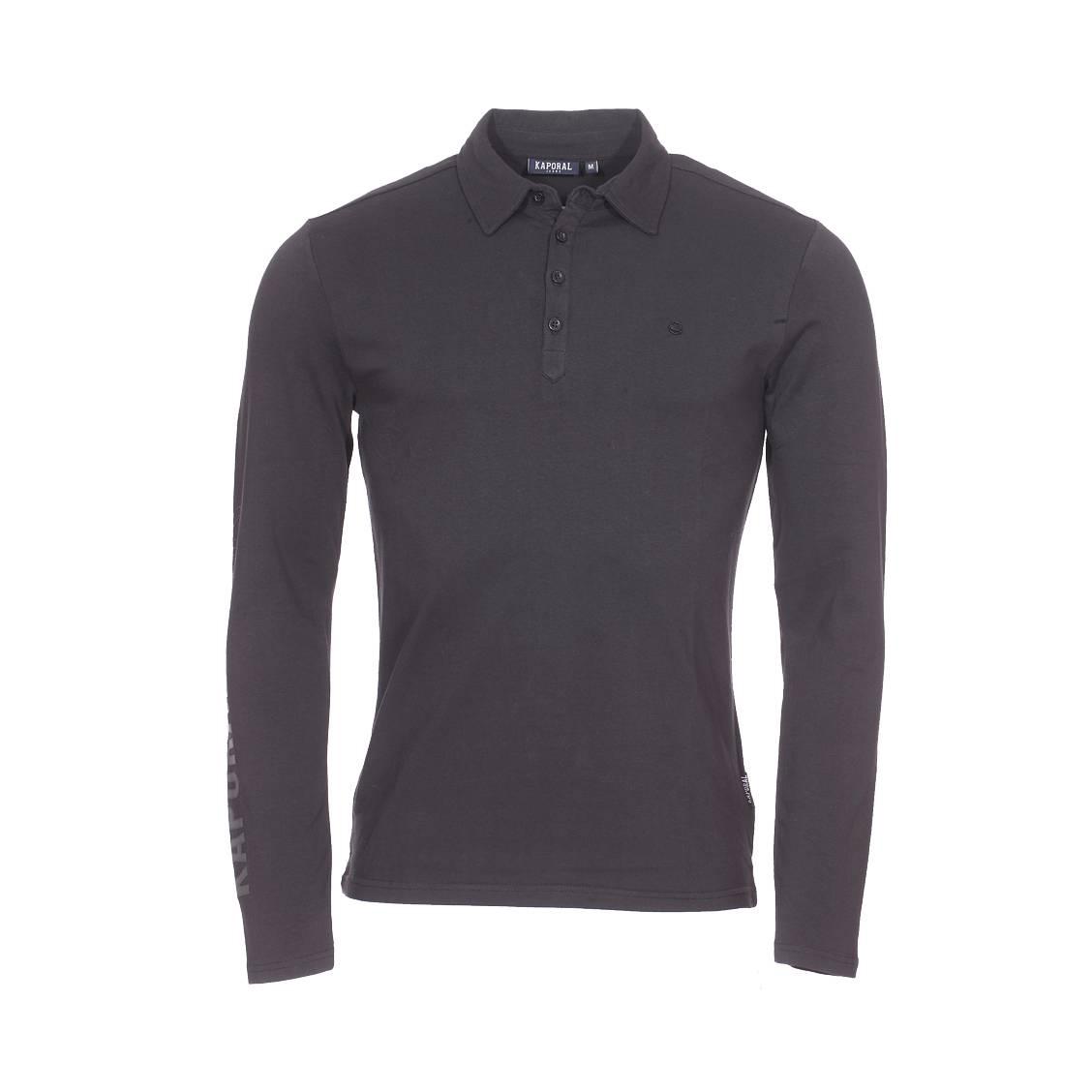 Polo manches longues  lizon en coton stretch noir