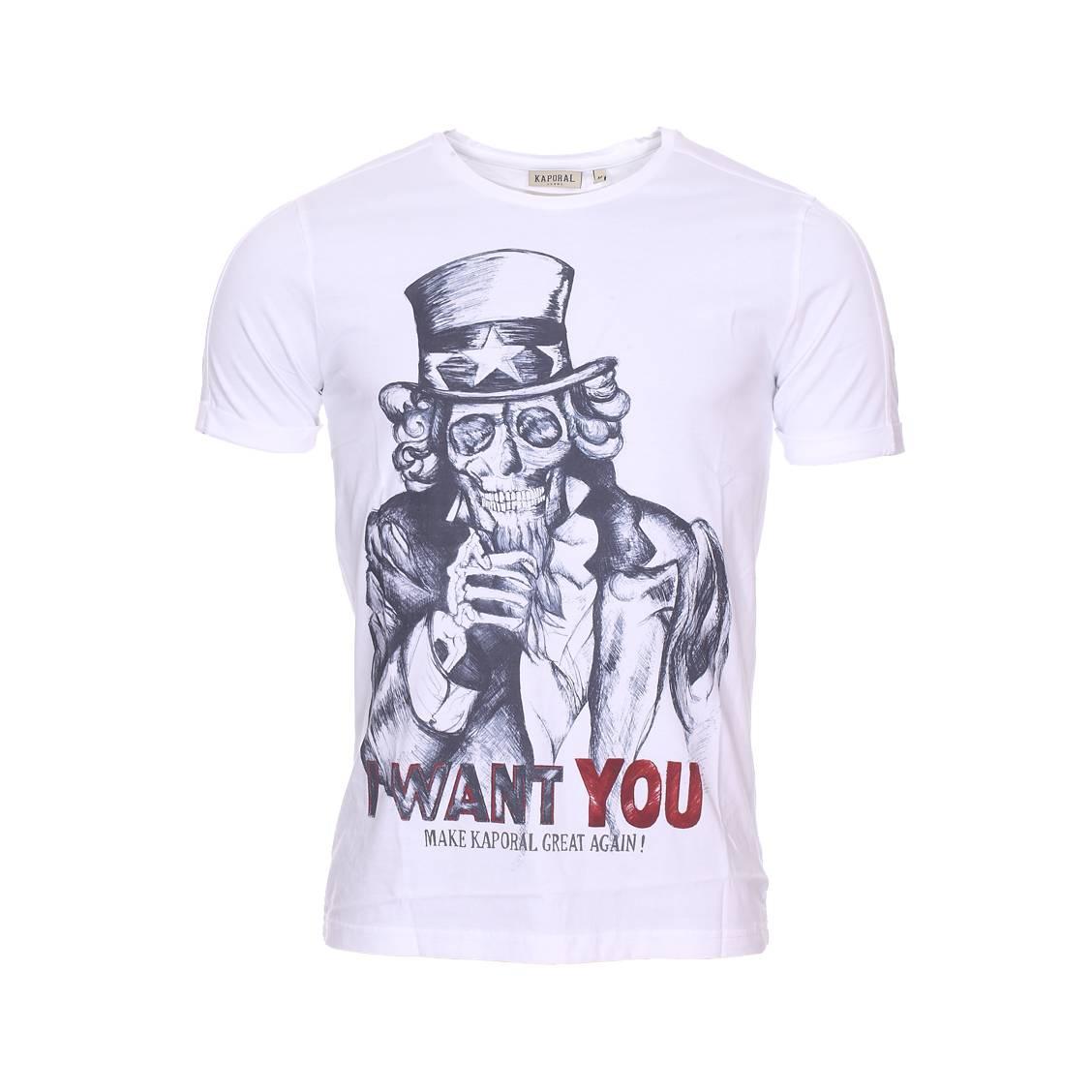 a15f5aba409bc Tee-shirt col rond Kaporal Samy en coton blanc imprimé ...