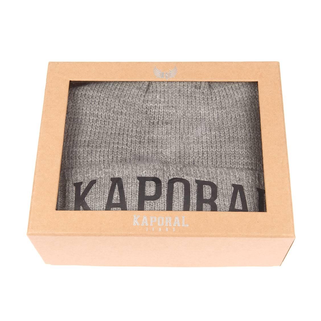 Coffret cadeaux bonnet et écharpe  back en mailles gris chiné