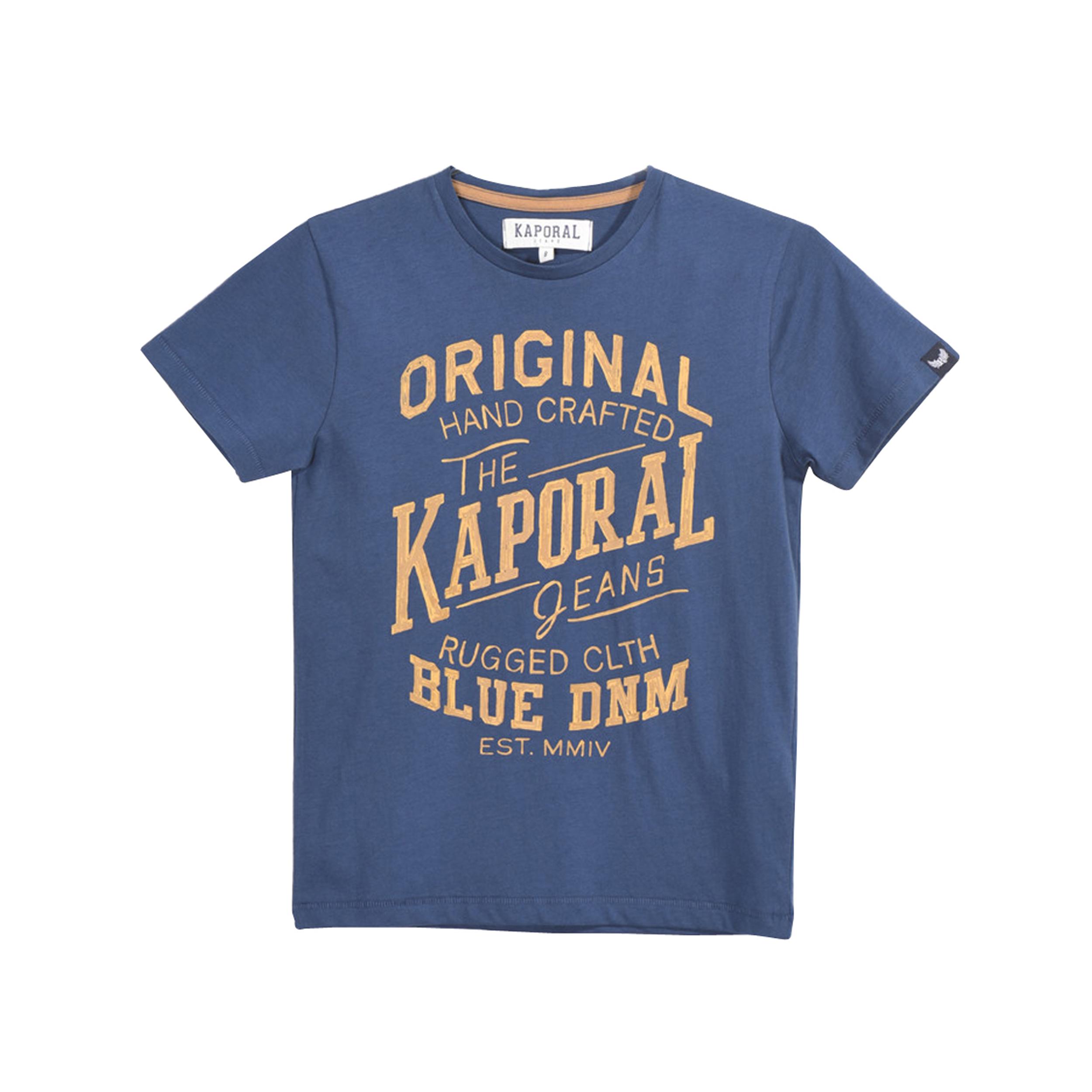 Tee-shirt col rond  misk en coton bleu pétrole floqué