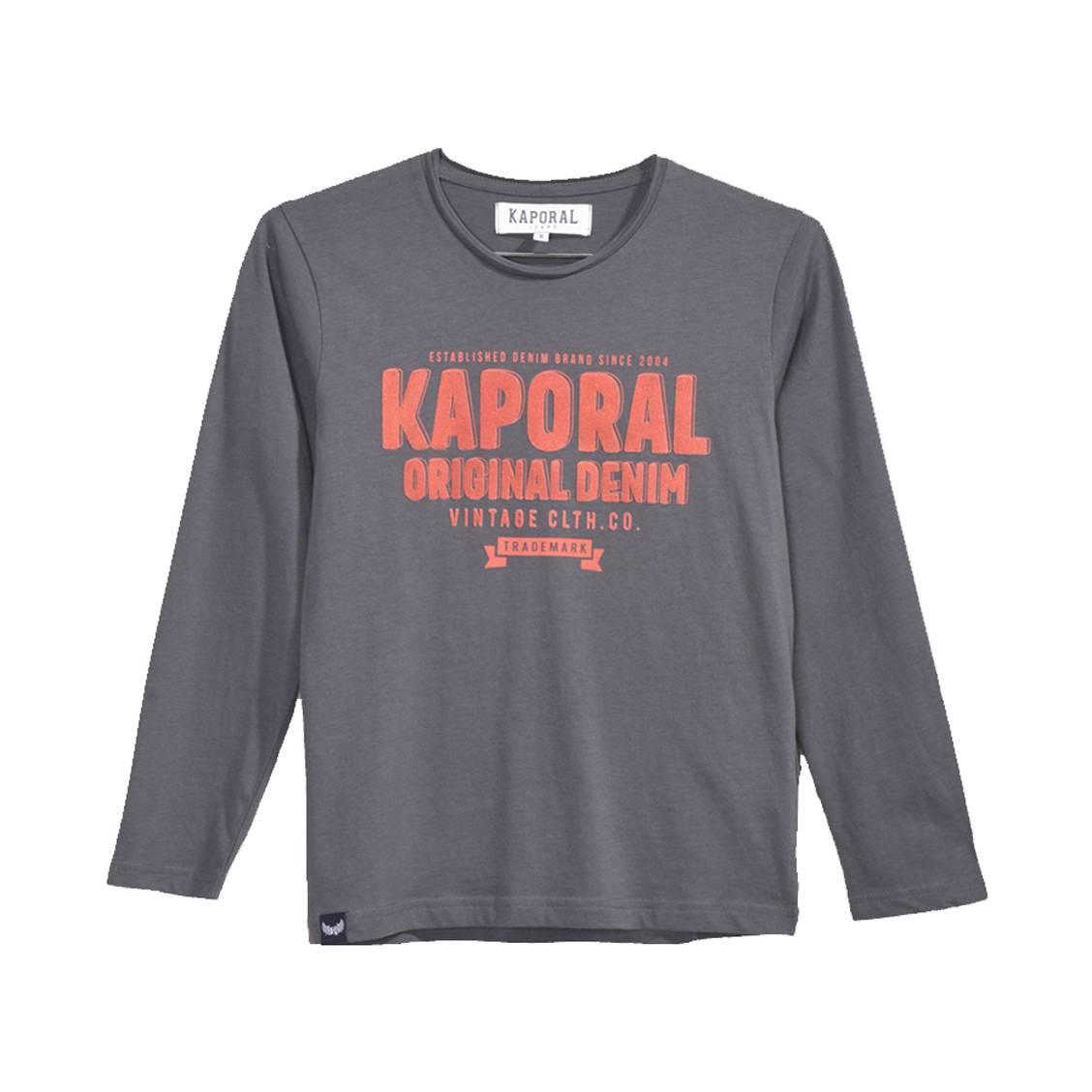Tee-shirt col rond à manches longues  modo en coton gris anthracite
