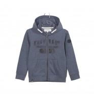 Sweat zippé à capuche Kaporal Junior Mutin en coton mélangé bleu marine chiné