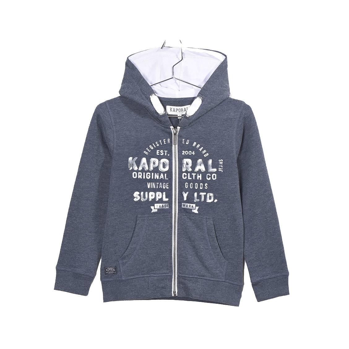 Sweat zippé à capuche  mydu en coton mélangé bleu marine chiné floqué