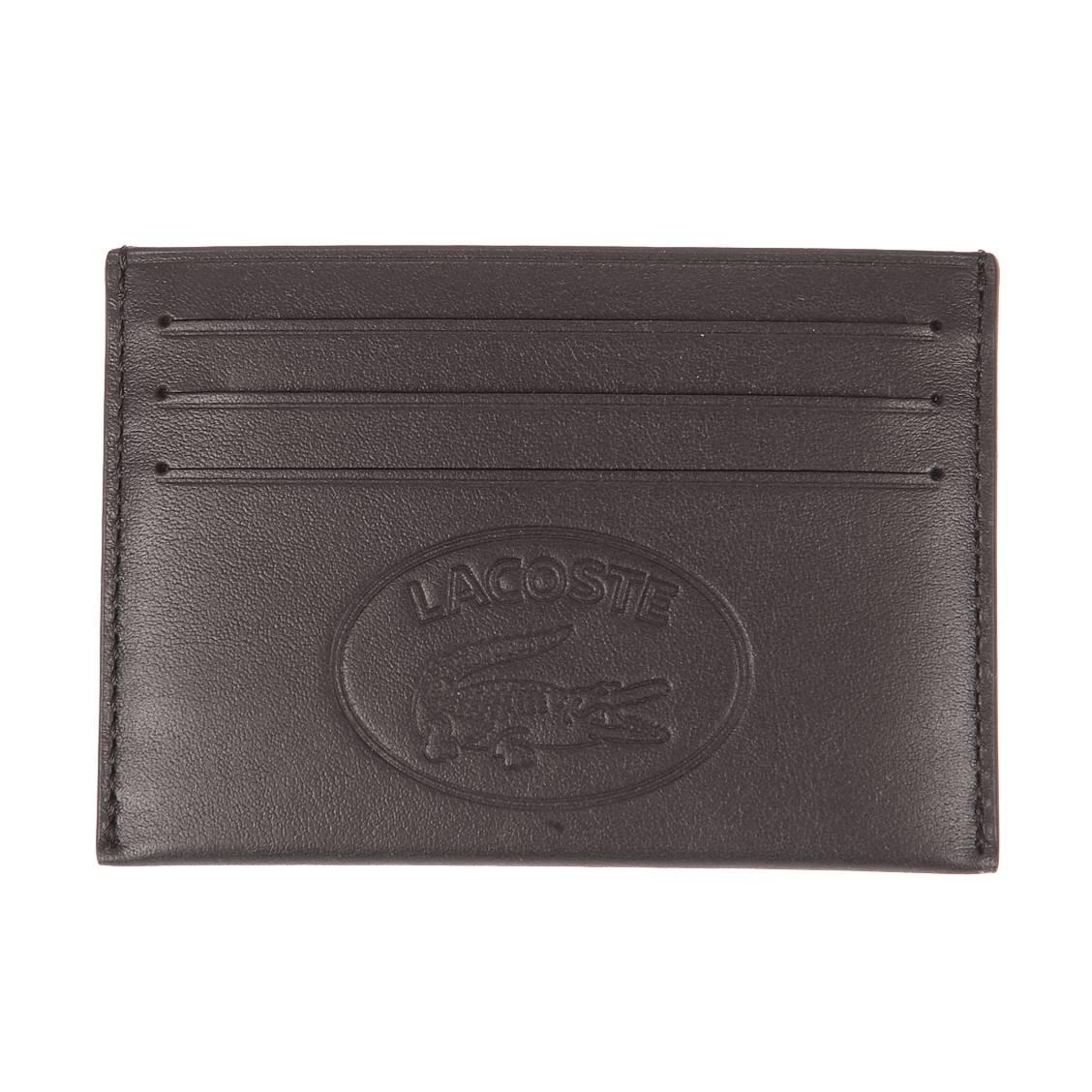 Porte-cartes italien  cuir casual en cuir de vache noir avec logo embossé