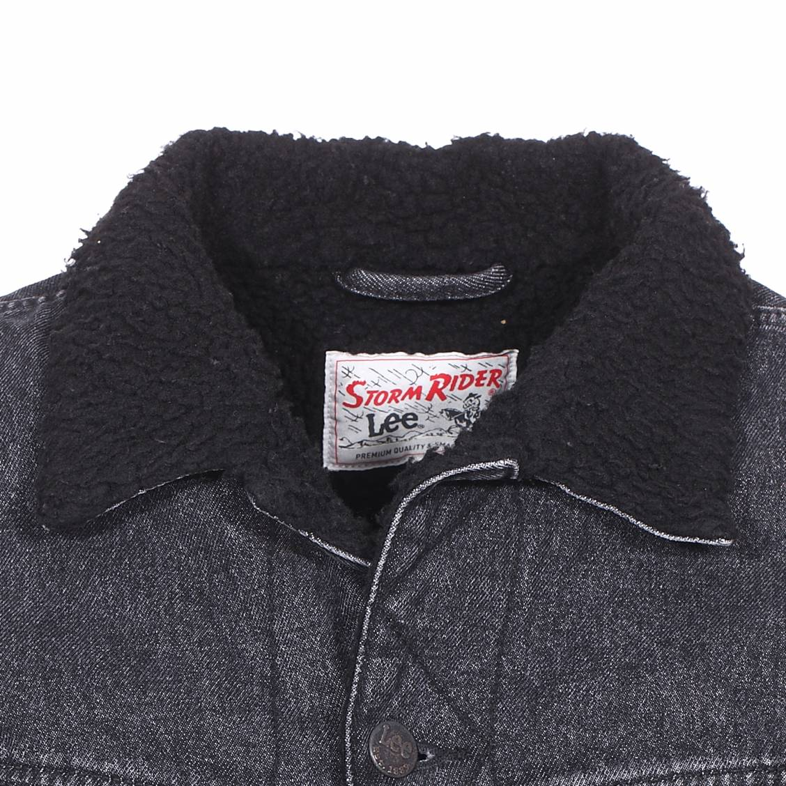 ... Veste en jean Lee Sherpa Rider en coton gris anthracite à effet délavé  ... 5cf372797e06