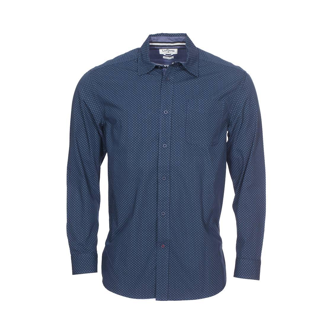 Chemise ample  duned en coton bleu marine à motif fantaisie bleu ciel