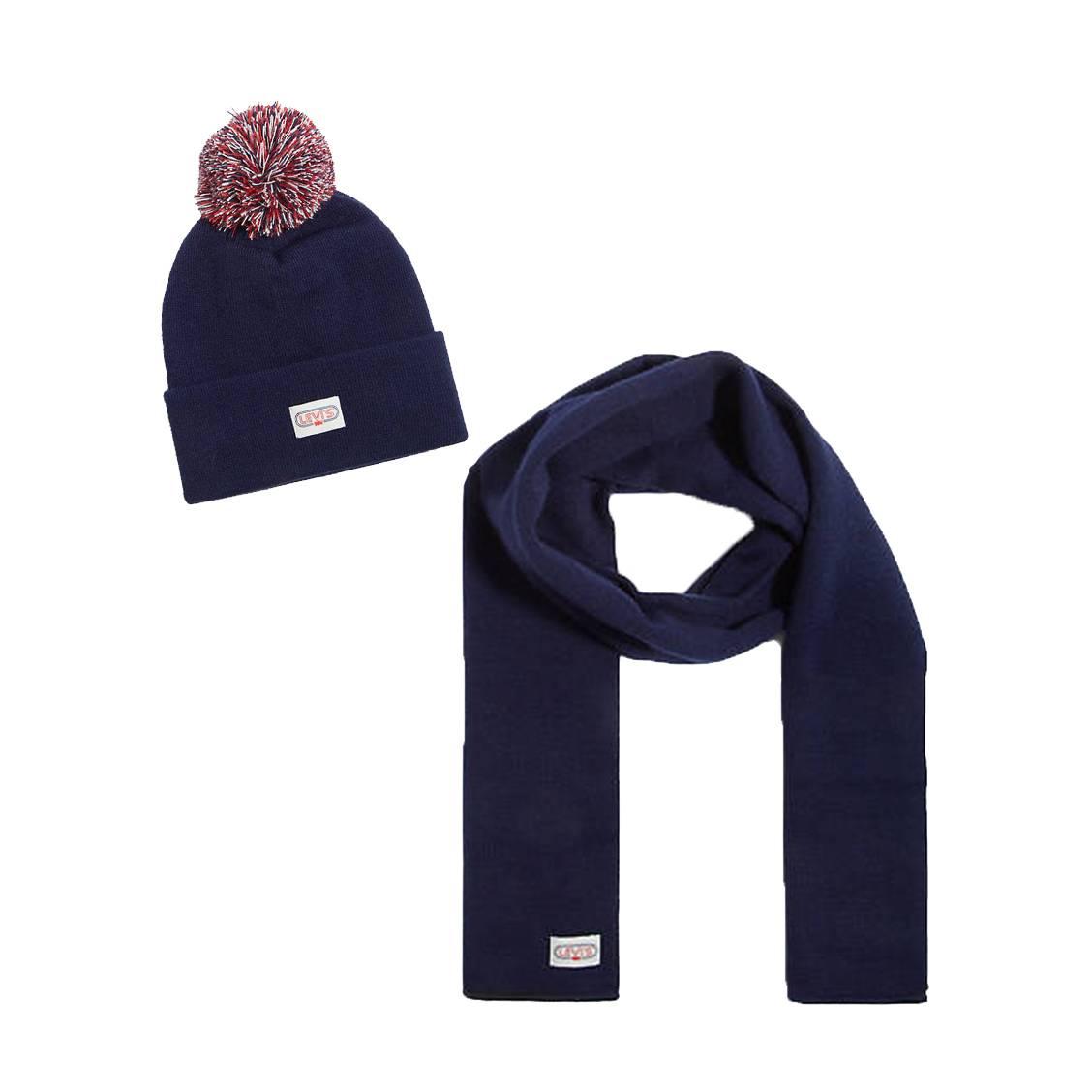Coffret cadeau levi\'s ski : écharpe bleu marine et bonnet bleu marine à pompon