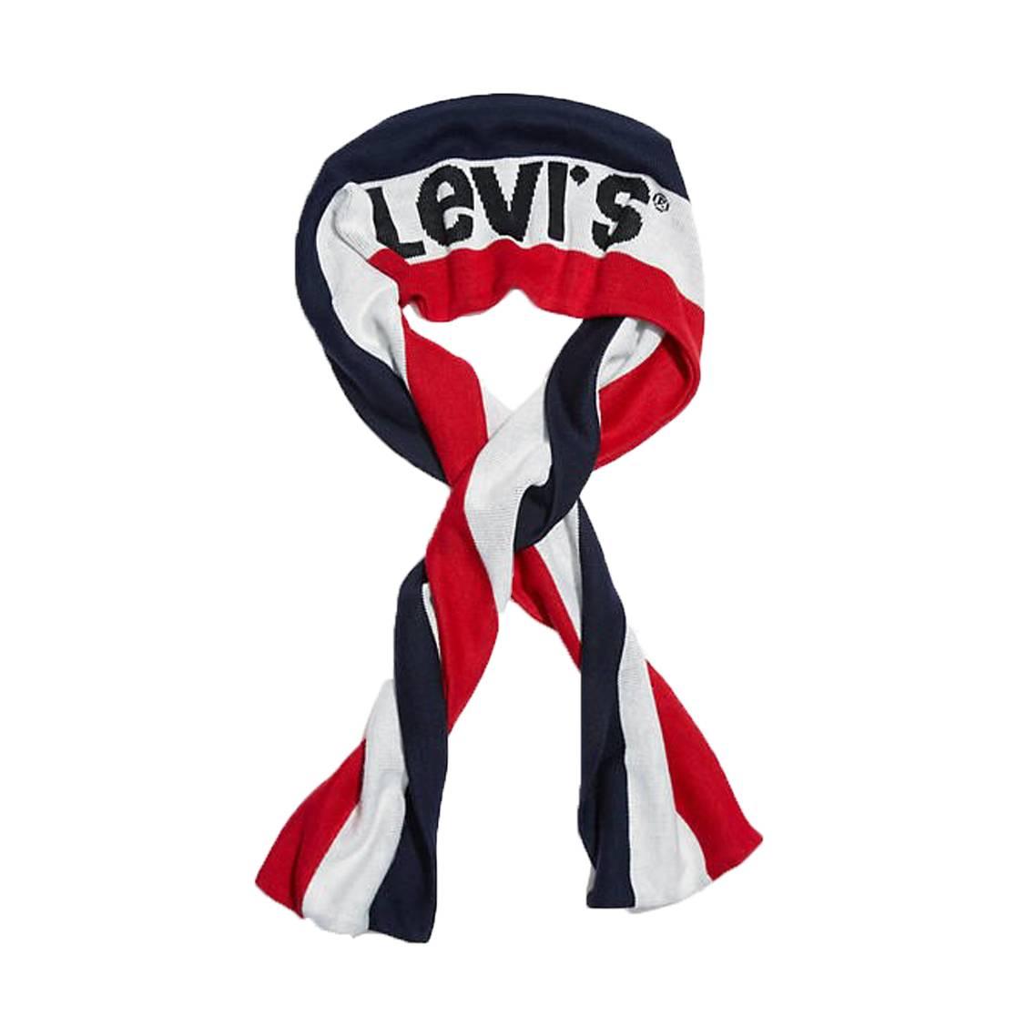 Echarpe levi\'s sportswear logo à rayures bleu marine, blanche et rouge