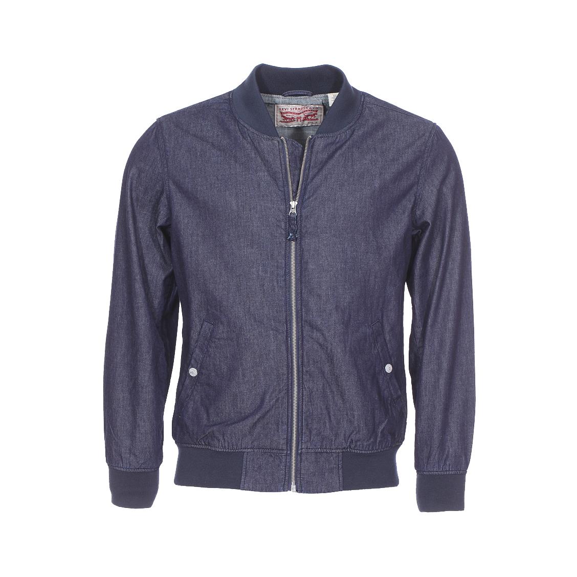 Blouson levi\'s lyon bomber jacket en coton bleu jean foncé