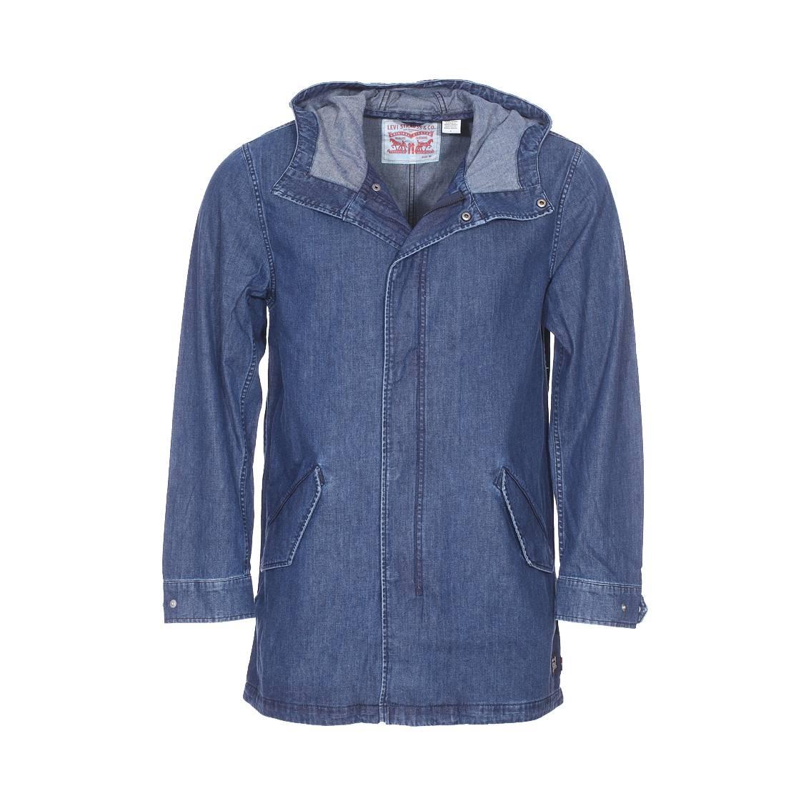 Parka à capuche levi\'s indigo stone fishtail en coton bleu jean