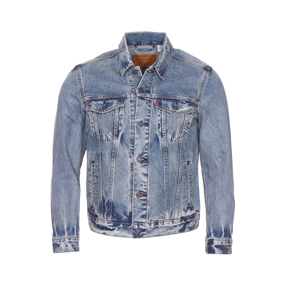 Veste levi\'s trucker en jean bleu effet vieilli