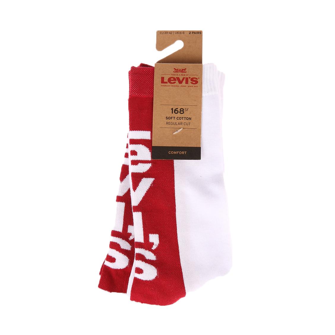 Lot de 2 paires de chaussettes levi\'s tab en coton mélangé blanc à logo rouge