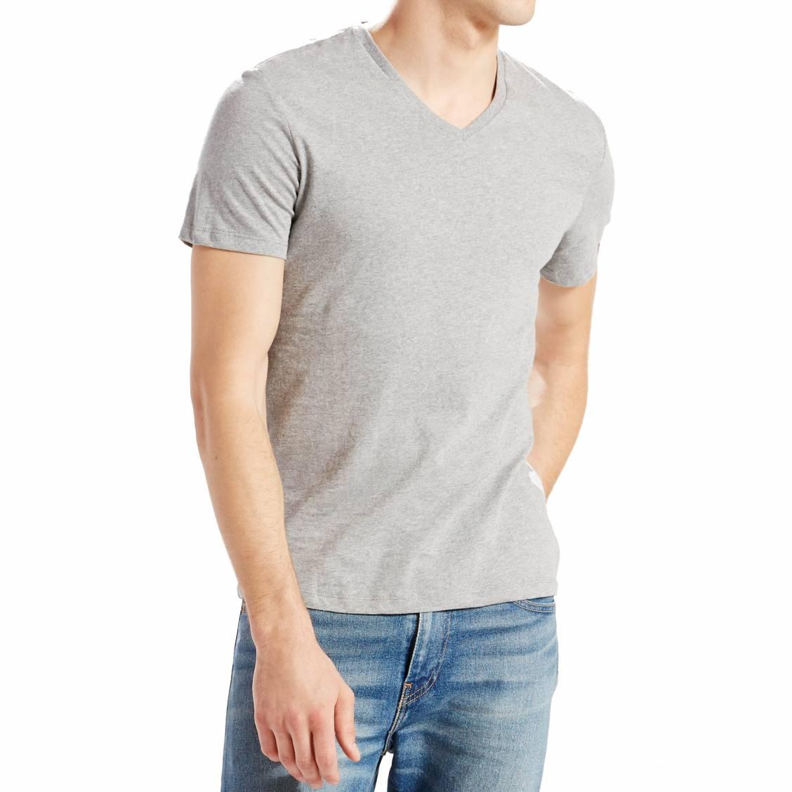 lot de 2 tee shirts levi 39 s slim fit v neck en coton gris. Black Bedroom Furniture Sets. Home Design Ideas