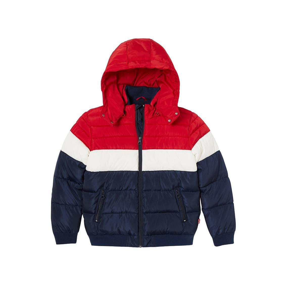 Doudoune à capuche amovible levi\'s junior skipuf à opposition de couleurs bleu marine, blanche et rouge