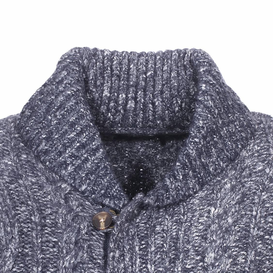 meilleure sélection a7c32 3b576 Gilet zippé col châle Pepe Jeans Holborn à grosses mailles bleu marine  chiné | Rue Des Hommes