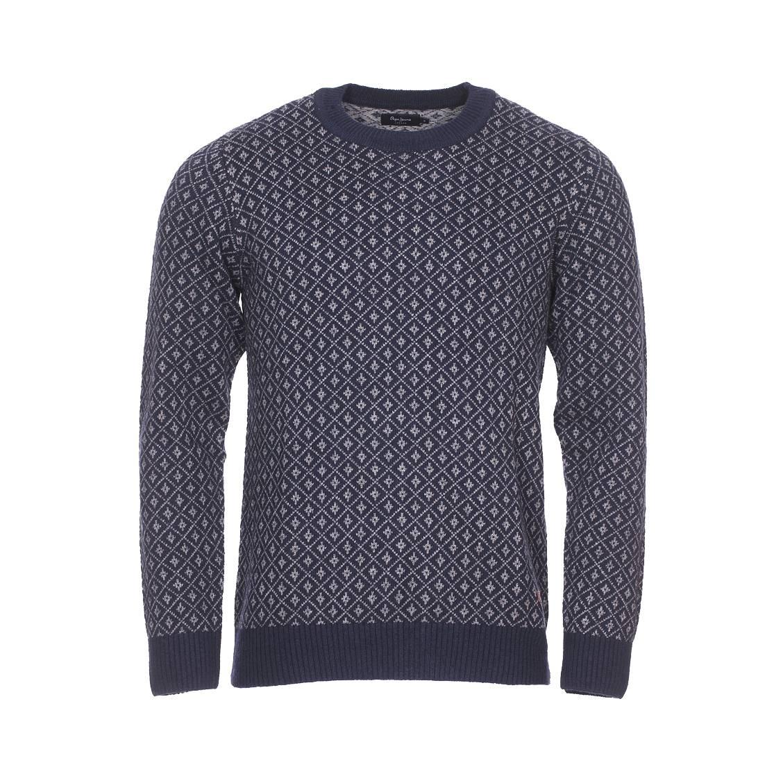 Pull col rond  dean en laine mélangée bleu marine à motif fantaisie gris foncé