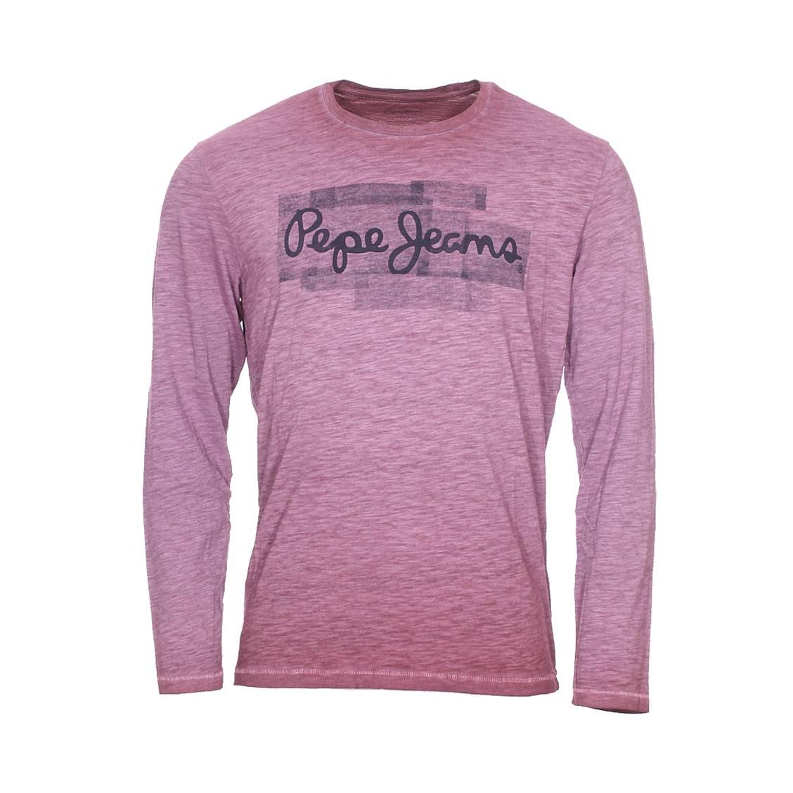 Tee-shirt col rond manches longues  adrian en coton mélangé prune à effet vintage