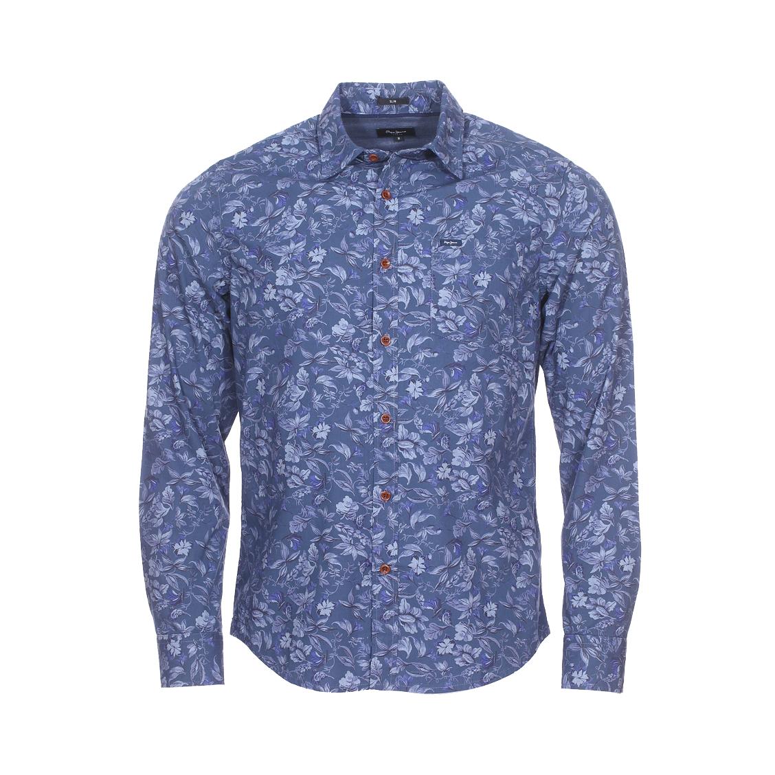 Chemise cintrée  pritchard en coton bleu marine à motif floral