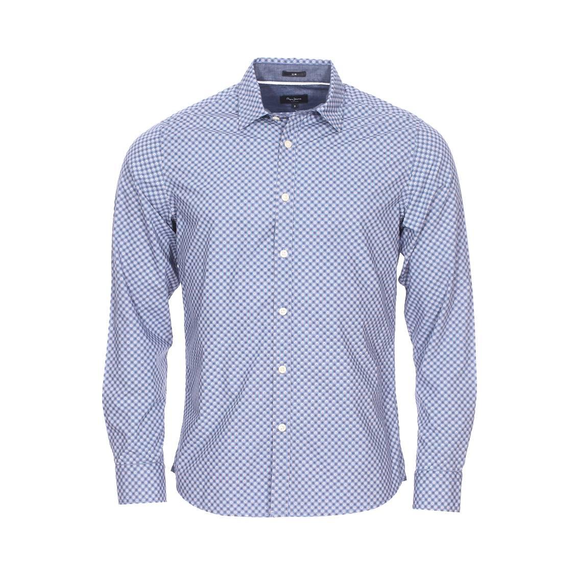 Chemise cintrée  mayward en coton bleu pastel à motif fantaisie