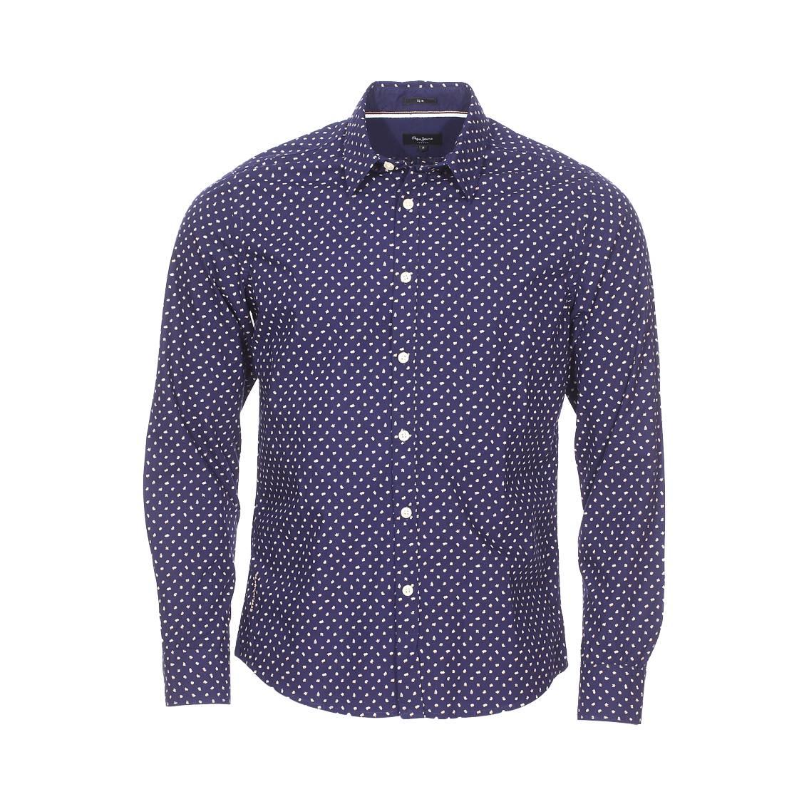 Chemise cintrée  halberton en coton bleu marine à motif