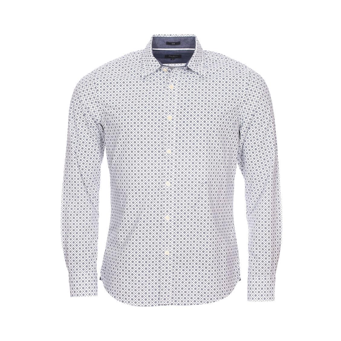 Chemise cintrée  rosebury en coton blanc à motif fantaisie