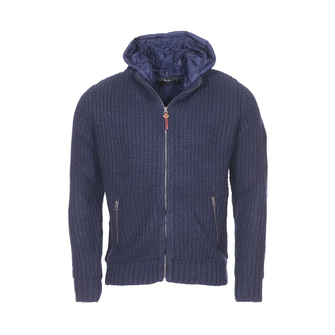 Blouson zippé  leicester en laine mélangée bleu marine à capuche amovible