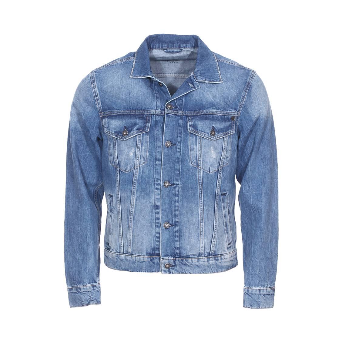 Veste en jean  pinner bleu délavé, effet usé