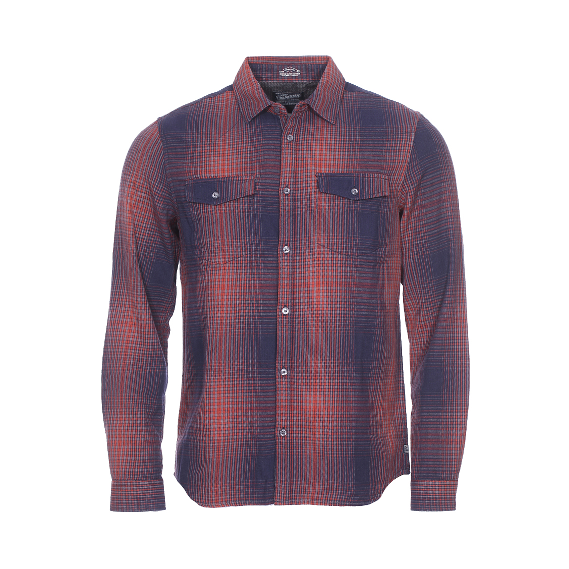 Chemise ajustée  en coton à petits carreaux bleu marine, rouges et gris