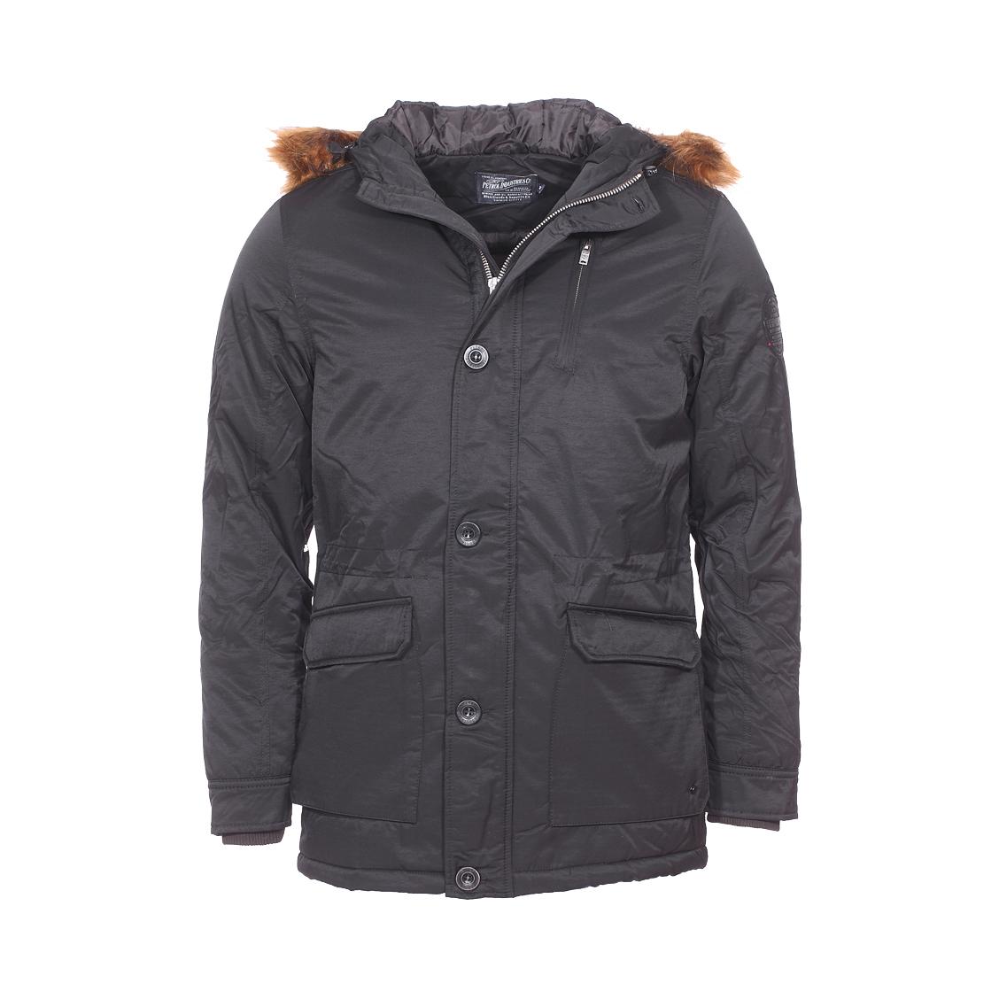 Parka zippée  en coton mélangé noir à capuche à fourrure amovible