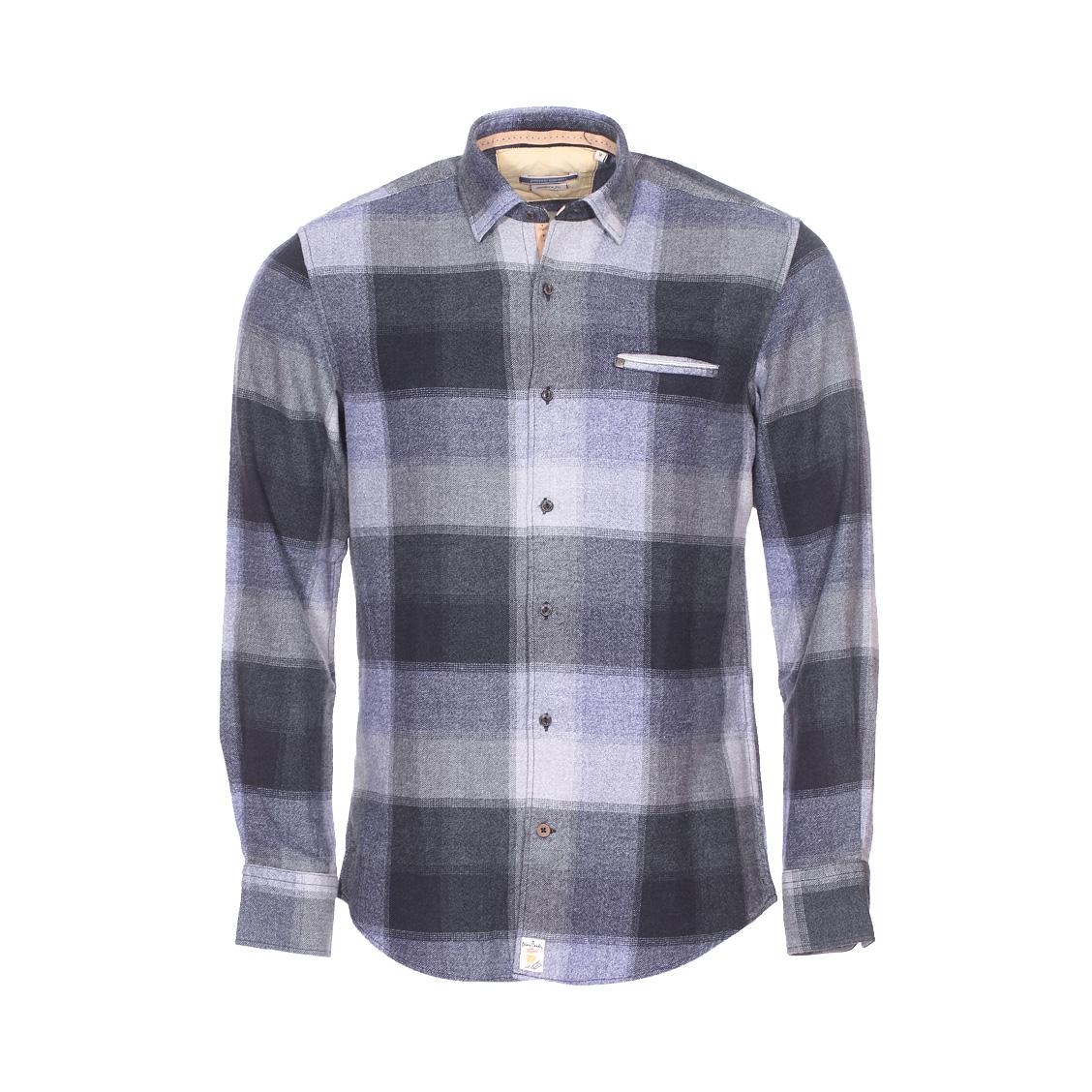 Chemise ajustée  en flanelle de coton à carreaux bleus, gris et vert foncé