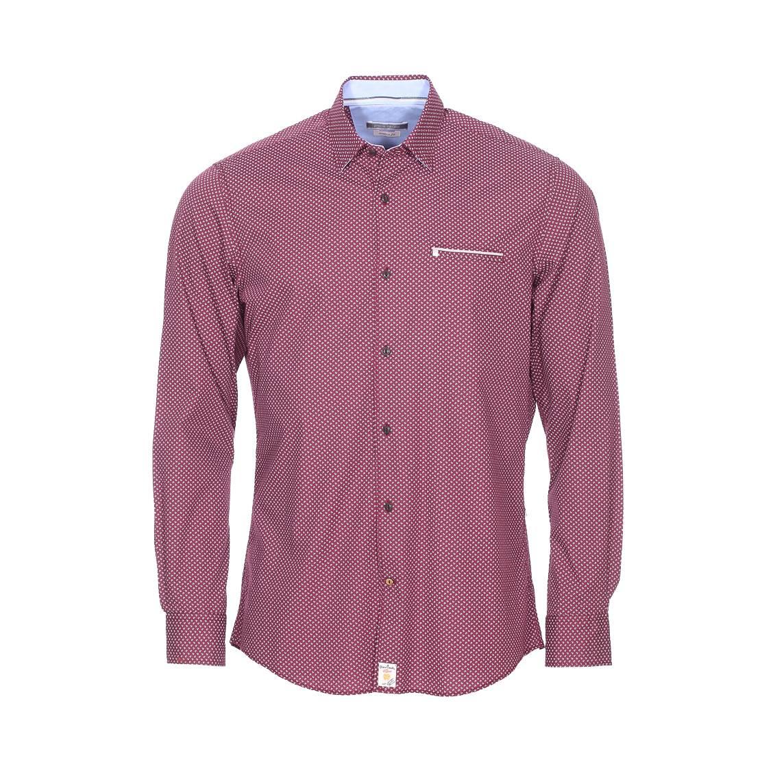 Chemise ajustée  en coton bordeaux à motifs blancs